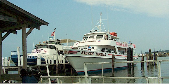 Chesapeake Breeze and Steven Thomas Cruise Boats docked at Tangier Island